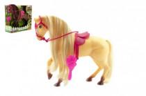 Kůň s hřívou česací s doplňky plast 28cm - mix barev