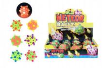 Míček/hopík meteor svítící 12cm plast mix barev síťce - mix variant či barev