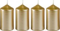 Svíčka adventní 40x75 mm - metalická bílé zlato - 4 ks