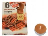 svíčka čajová vonná SKOŘICE (6ks) (hoří 6x3-4hod)