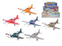 Vrtulové letadlo kov 12 cm zpětný chod - mix barev