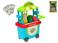Stánek ovoce/zelenina pojízdný 23x38x16 cm s doplňky