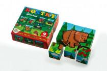Kostky kubus dřevěné Moje první zvířátka lesní dřevo 9ks v krab.11x11x6cm MPZ - VÝPRODEJ
