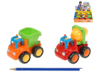 Stavební vozidla 9 cm na setrvačník - mix variant či barev