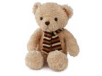 Medvěd plyšový 28 cm sedící se šálou