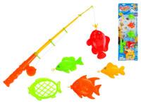 Hra rybář - rybářský prut 41 cm + rybičky - mix barev