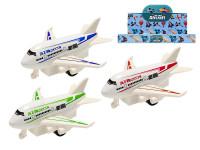 Letadlo dopravní kov 9 cm na zpětný chod - mix barev