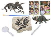 Dinosaurus 12 cm a zkamenělina v sádře s dlátem, lupou a štětcem - mix variant či barev