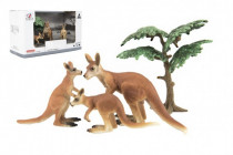Zvířátka safari ZOO 10cm sada plast 4ks klokan 2 druhy