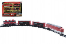 Vlak 18cm + 3 vagóny s kolejemi 16ks plast na baterie se světlem se zvukem