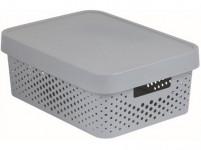 box úložný INFINITY děrovaný 36,3x27x13,8cm s víkem, plastový, ŠE
