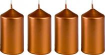 Svíčka adventní 40x75 mm - metalická bronz - 4 ks