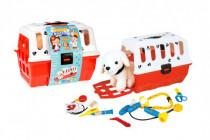 Zvířátko pejsek plyš v přenosném boxu 26cm plast + doktorská sada veterinář