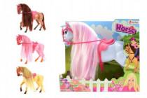 Kůň Sofie s hřívou česací plast 26cm - mix barev