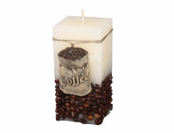 Svíčka COFFEE BAG HRANOL rustikální 7x7x14cm
