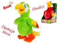 Papoušek plyšový chodící a opakující slova 20 cm na baterie - mix barev