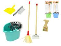 Úklidová sada - kbelík 22 cm s mopem 44 cm, košťátkem 44 cm a doplňky - mix barev