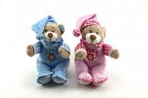 Medvídek s čepicí chrastítko plyš 30cm - mix barev