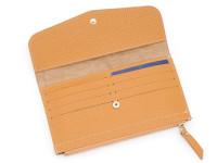 Moderní dámská peněženka s kapsou na drobné, eko kůže, okrová