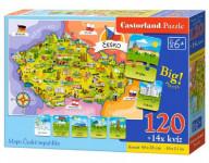 Puzzle Mapa České republiky 120 dílků + 14 kvízů naučné 40x28cm
