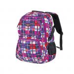 Easy flow 837999 Batoh školní tříkomorový fialovo-barevné káro, profilovaná záda, 26 l