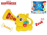 Slon 23x15 cm na baterie se světlem a zvukem Baby\'s Happiness - mix barev