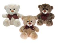 Medvěd plyšový 32 cm sedící s mašlí - mix barev