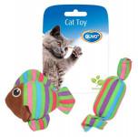 Hračka cat textil Ryba a bonbón mix barev Duvo+ 8,5 x 8 x 2,8 cm