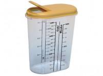 dóza na sypké potraviny 1,5l ovál s potisk. plastová, otevírací víčko - mix barev
