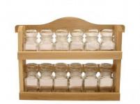 polička dřevěná s kořenkami 150ml skl. (12ks)