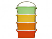jídlonosič 4x1,2l hranatý 17x15x25cm plastový - mix barev