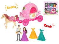 Kočár s koněm 29 cm s princeznou a princem 10 cm na baterie se světlem a zvukem s doplňky