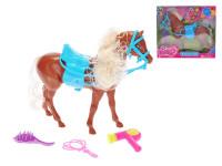 Kůň hnědý 24 cm se sedlem a doplňky