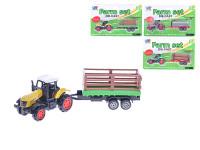Traktor kov s vlečkou 16cm - mix variant či barev