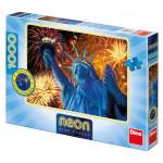 Dino Zářicí socha svobody 1000 neon Puzzle