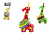 Žirafa pyramida hazecí kroužky plast 33cm 3 barvy v sáčku 18m+