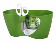 Obal na květník LIMES DUBLO + nůžky plastový zelený 25x12cm
