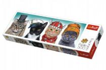 Puzzle kočky s čepicemi panorama 500 dílků 66x23,7cm