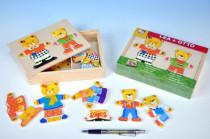 Puzzle Šatník medvědi dřevo barevný