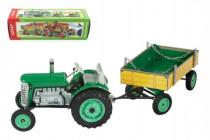 Traktor Zetor s valníkem zelený na klíček kov 28cm Kovap