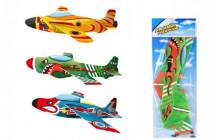 Letadlo házecí pěna/plast na kartě 19x53cm - mix barev
