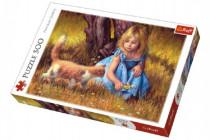 Puzzle Holčička s kočkou malované 500 dílků 48x34cm