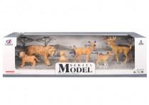Sada Model Svět zvířat rodina tygrů a srnečků, 6 zvířátek
