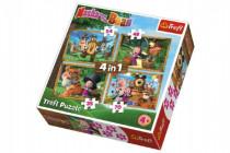 Puzzle 4v1 Máša a Medvěd Lesní Dobrodružství