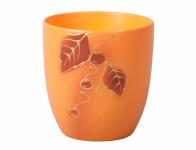 Obal na květník KODET LEAVES 2 oranžový matný d13x14cm