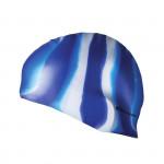 Spokey Abstract plavecká čepice silikonová modro-bílé pruhy