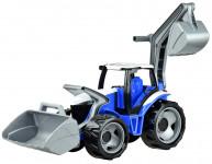 Traktor se lžící a bagrem plast modro-šedý 65cm
