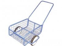 vozík POPULAR III, plochá obruč, komaxit, 418x618x232(1220) mm
