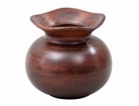 Váza O WOOD keramická tmavě hnědá matná v14cm