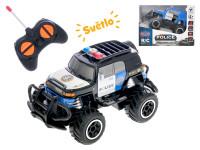 R/C auto terénní policie 14 cm 1:43 27 MHz plná funkce na baterie se světlem - mix barev